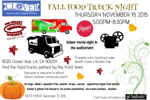 clover avenue elementary school los angeles food truck indoor movie night free events west los angeles mar vista fundraiser
